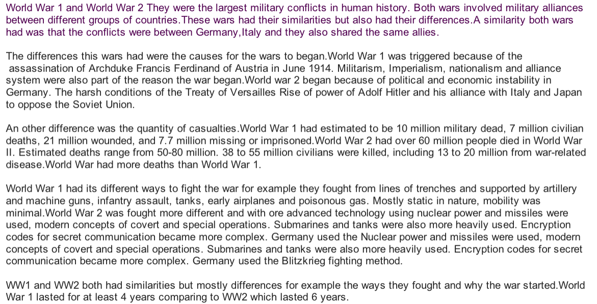 Comparison between ww1 and ww2 essay